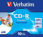 CDR VERBATIM 700MB AZO PRINTABLE (10 JEWEL CASE)